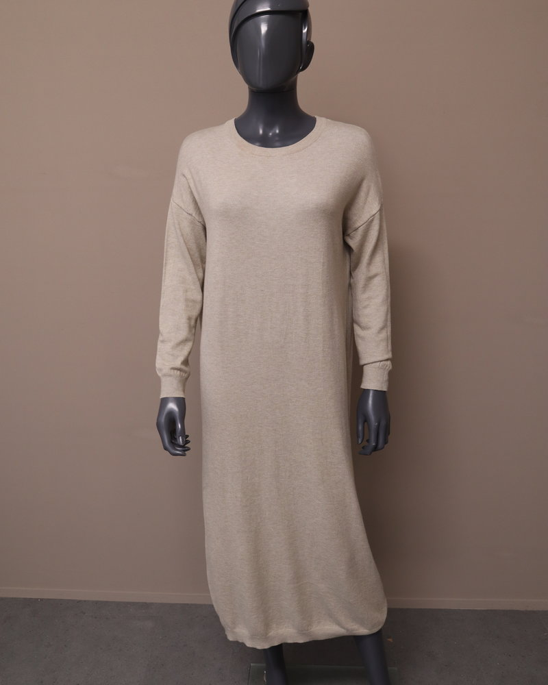 Maxi jurk gebreid beige