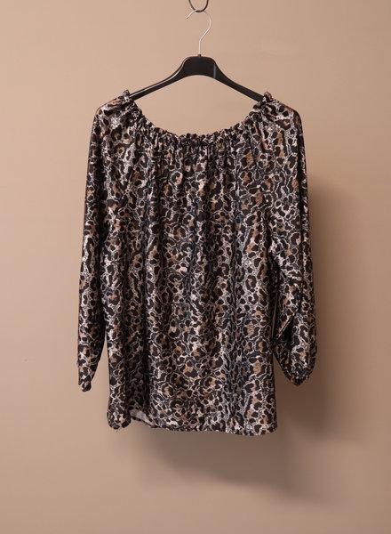 Silky blouse print zwart PLUS