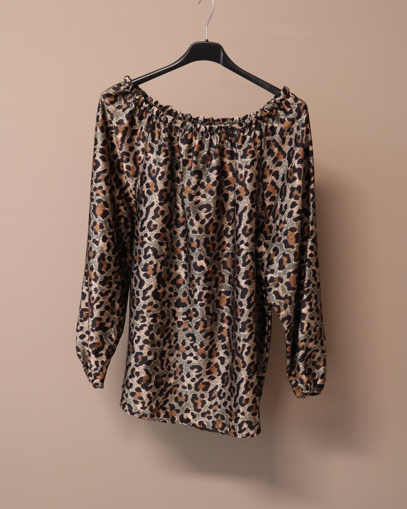 Silky blouse print groen PLUS