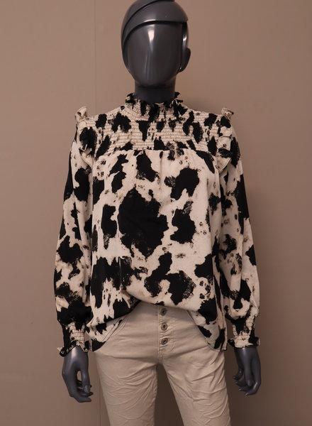 blouse zwart/roomwit