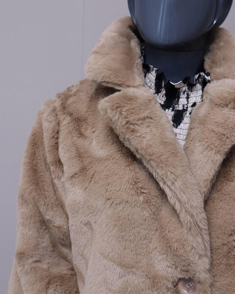 Bontjas fake fur camel