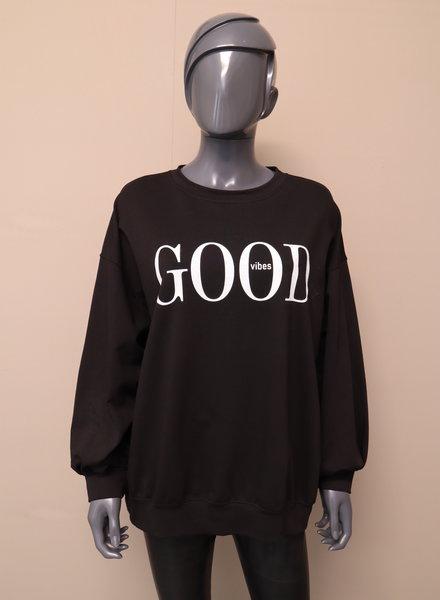 "Oversized sweater ""good vibes"" zwart"