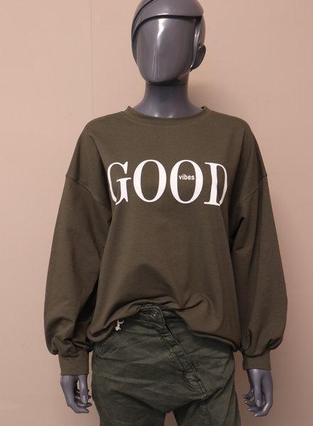"Oversized sweater ""good vibes"" groen"