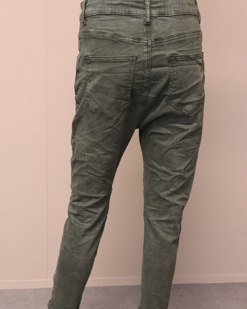 Melly & Co Jeans laagkruis army green