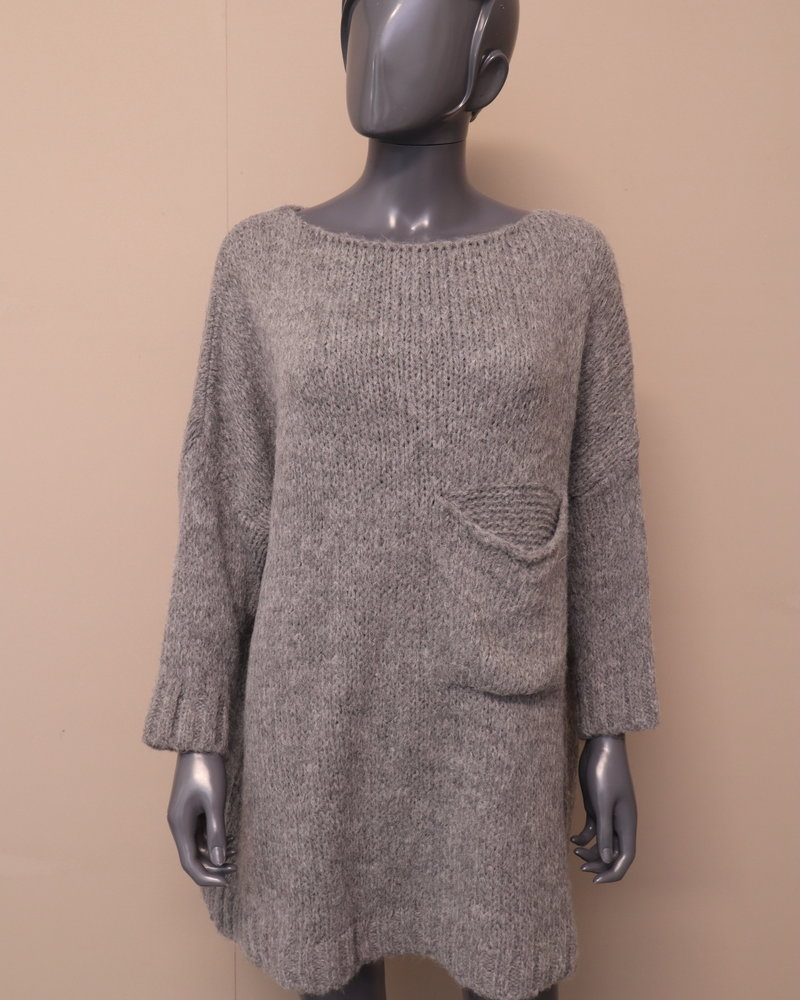 Oversized trui borstzak grijs