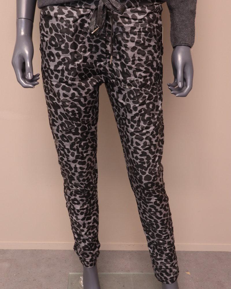 Comfi broek coated panter grijs/zwart