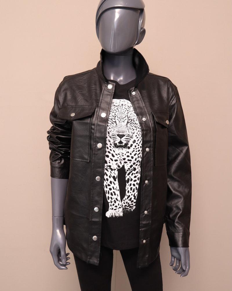 PU blouse/jas zwart