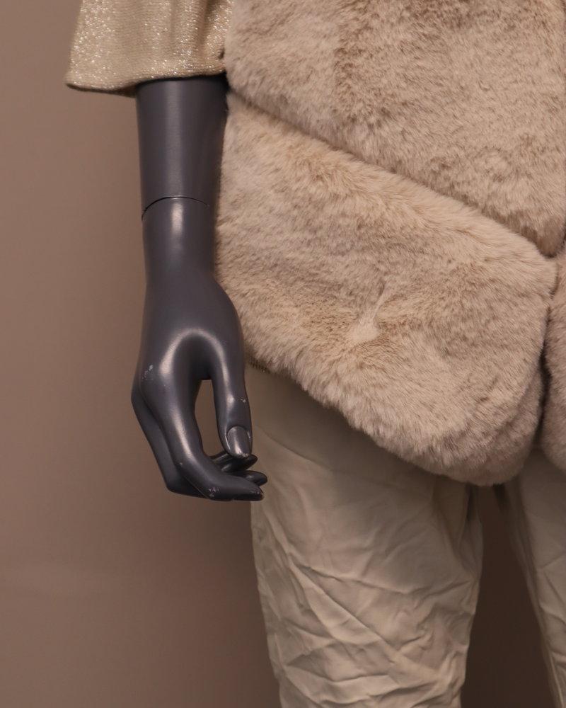 Bodywarmer fake fur beige
