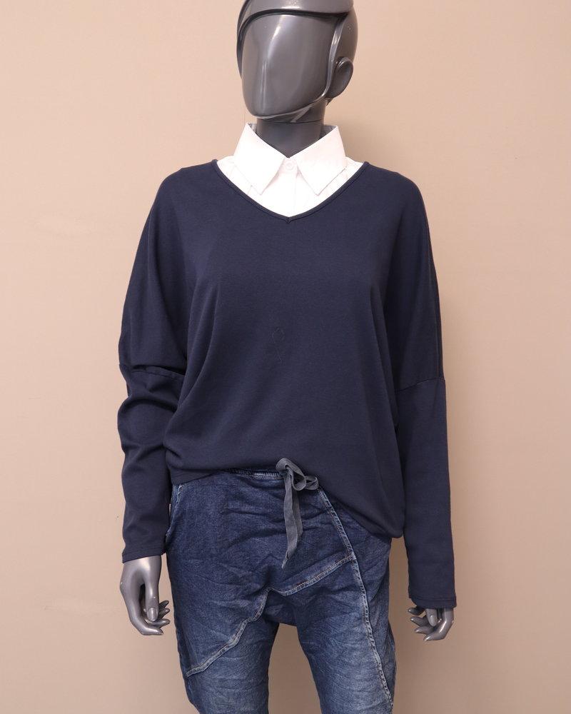 Sweater V-hals blauw