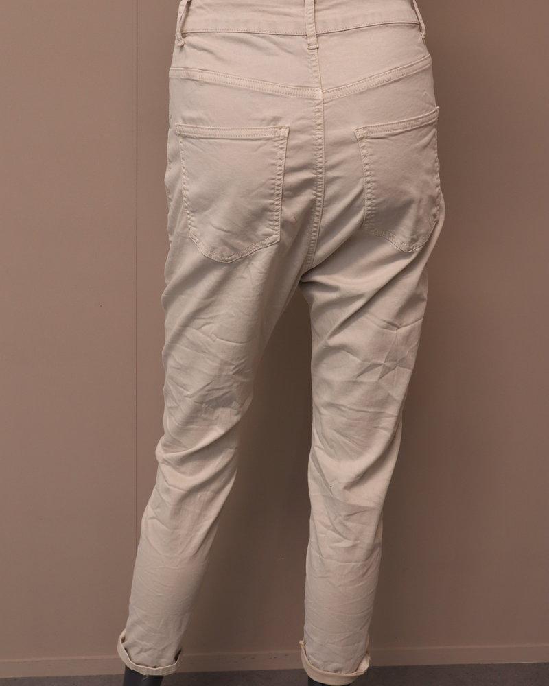 Laag kruis jeans beige