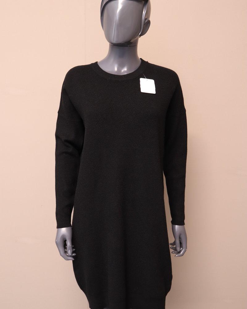 Midi jurk fijn gebreid zwart