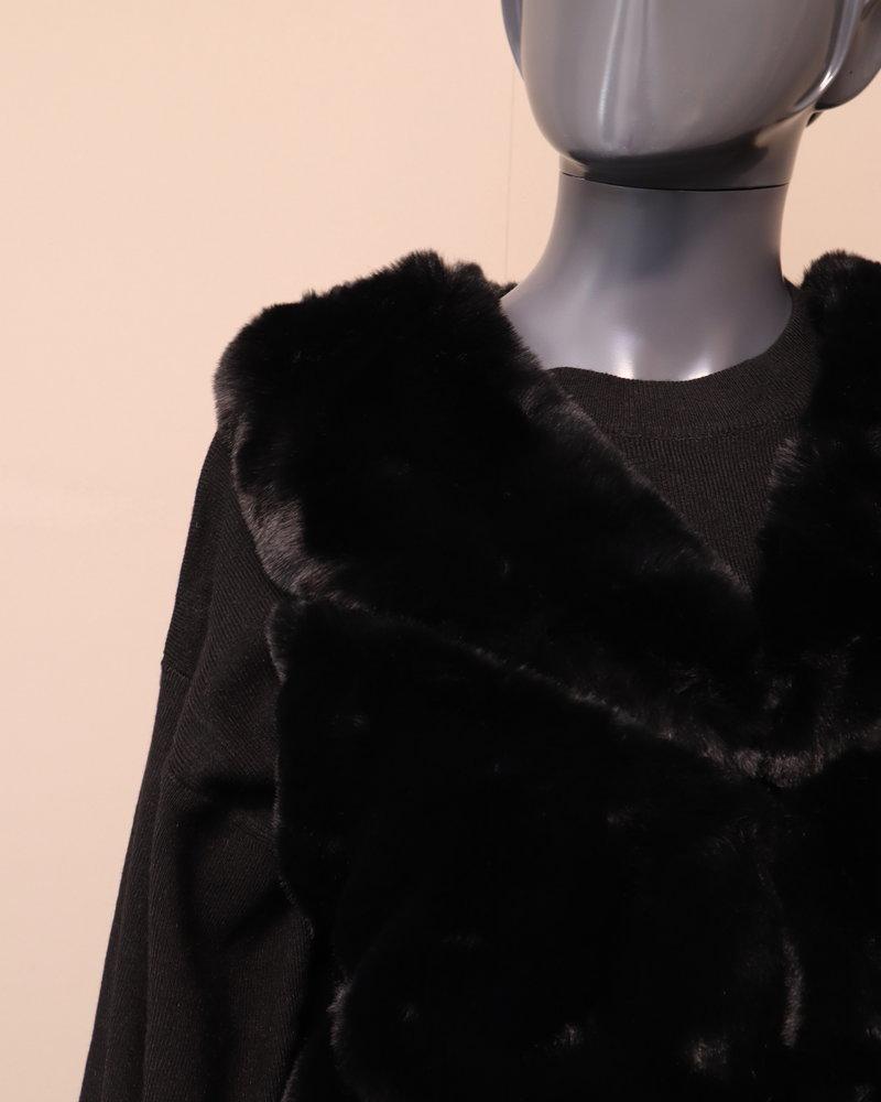 Bodywarmer fake fur zwart