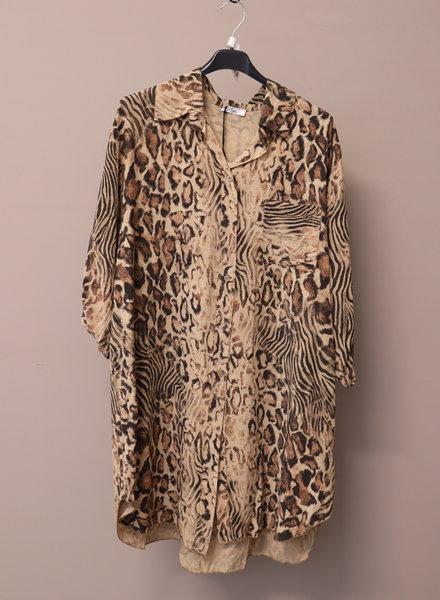 Tuniek/blouse panter camel PLUS