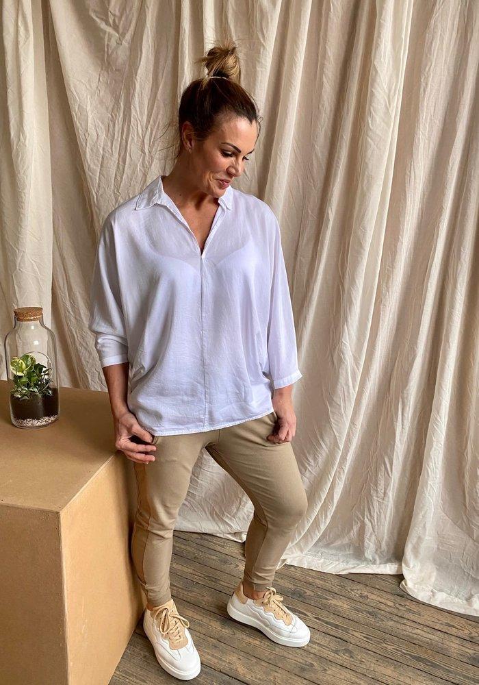 Suzy D Button Back Linen Shirt