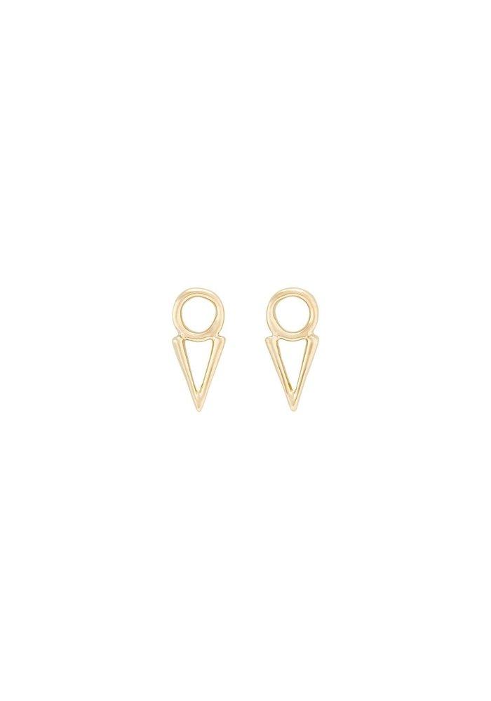 "Uno De 50 ""Equal"" Gold Triangle Earrings"