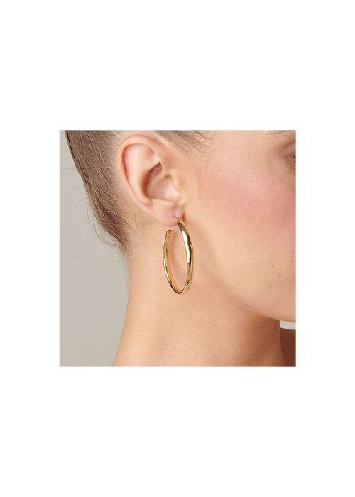 "UNO DE 50 Uno De 50 ""Ohmmm..."" Gold Hoop Earrings"