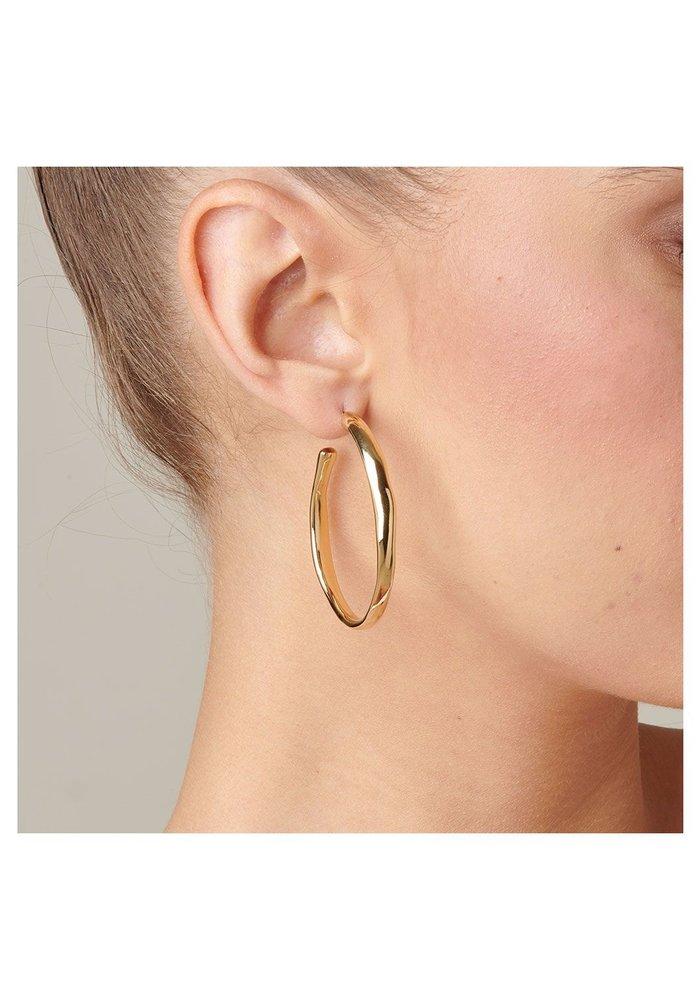 """Uno De 50 """"Ohmmm..."""" Gold Hoop Earrings"""