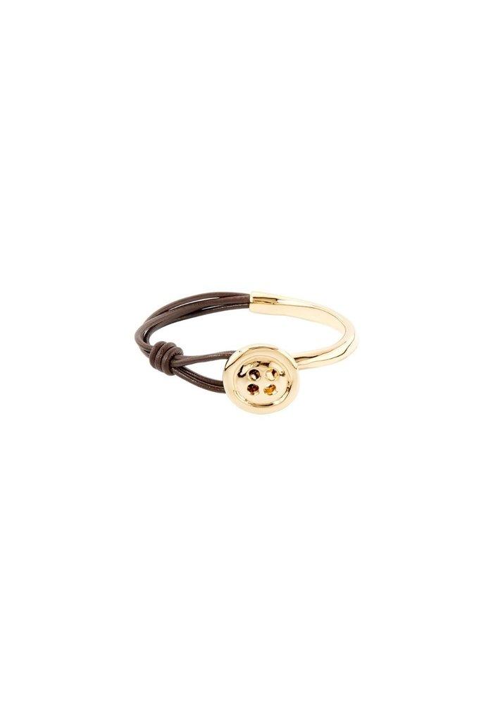 """Uno De 50 """"My Button"""" Leather & Gold Bracelet"""