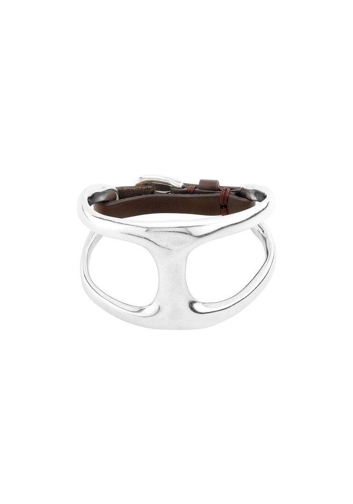 """Uno De 50 """"Two in One"""" Silver & Leather Bracelet"""