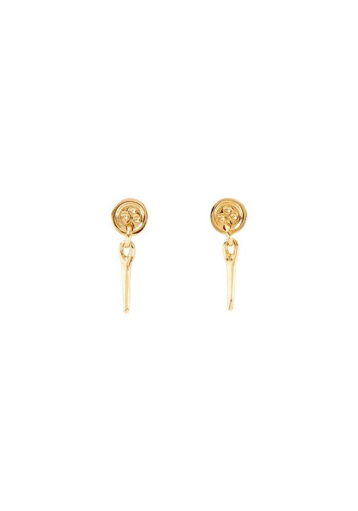 """Uno De 50 """"Sewn"""" Gold Earrings"""