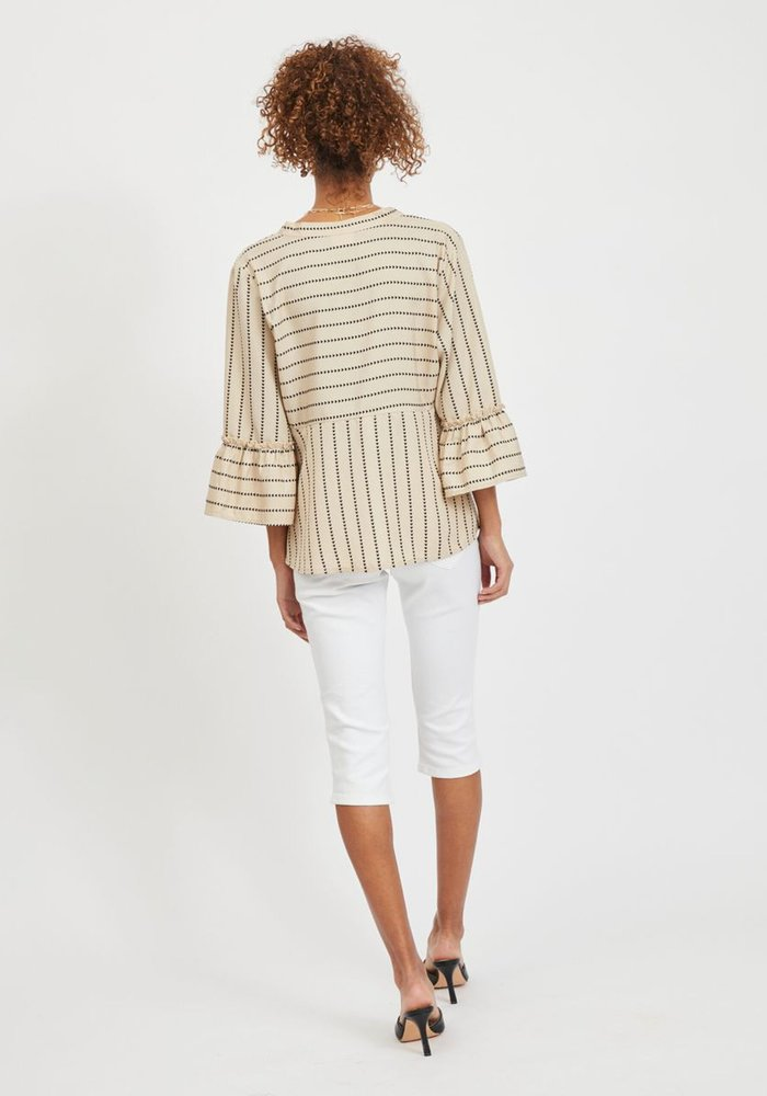 Vila Vietna 3/4 Sleeve Striped Top
