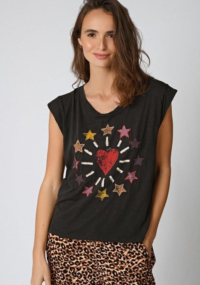Five Sleeveless Printed Star T-Shirt