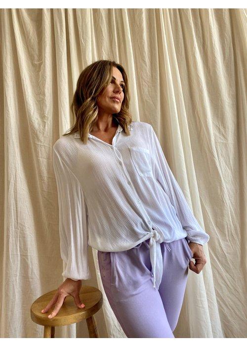 SUZY D Suzy D Tie Front Crinkle Shirt