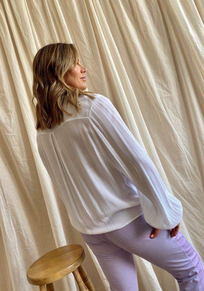 Suzy D Tie Front Crinkle Shirt
