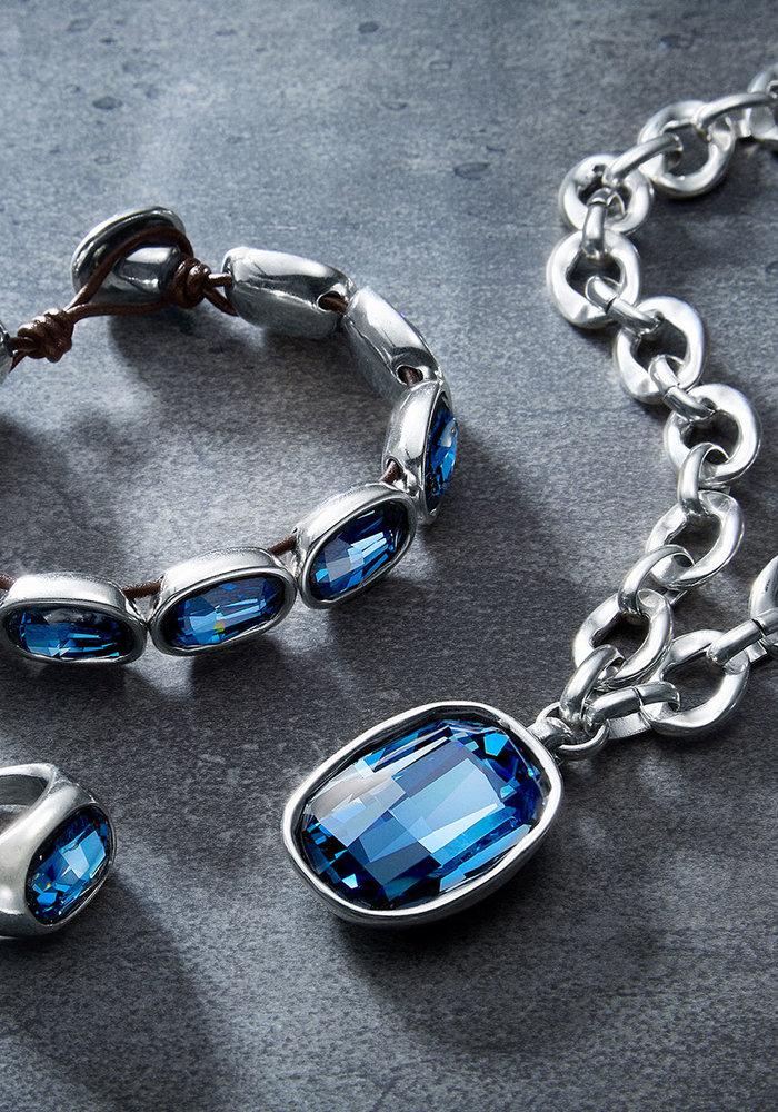 "Uno De 50 ""Light it Up"" Blue Swarovski Necklace"