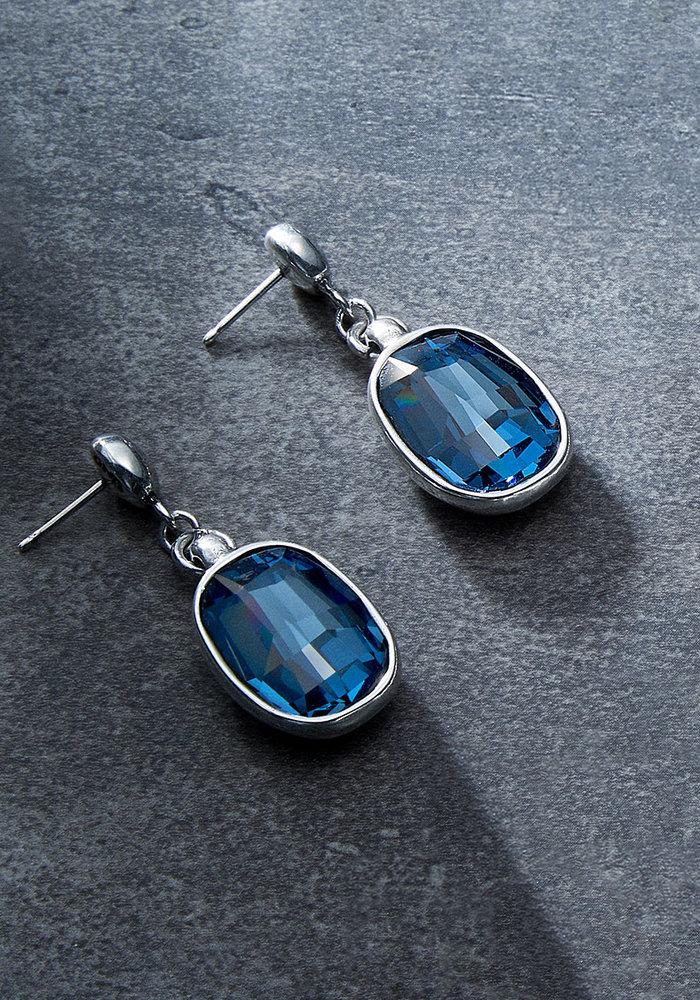 """Uno De 50 """"Light it Up"""" Blue Swarovski Earrings"""