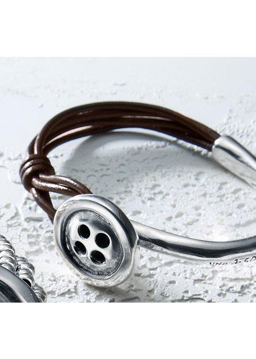 "UNO DE 50 Uno De 50 ""My Button"" Leather & Silver Bracelet"