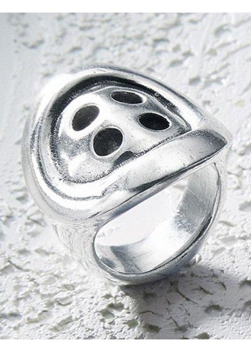 """UNO DE 50 Uno De 50 """"Melted Button"""" Silver Ring"""