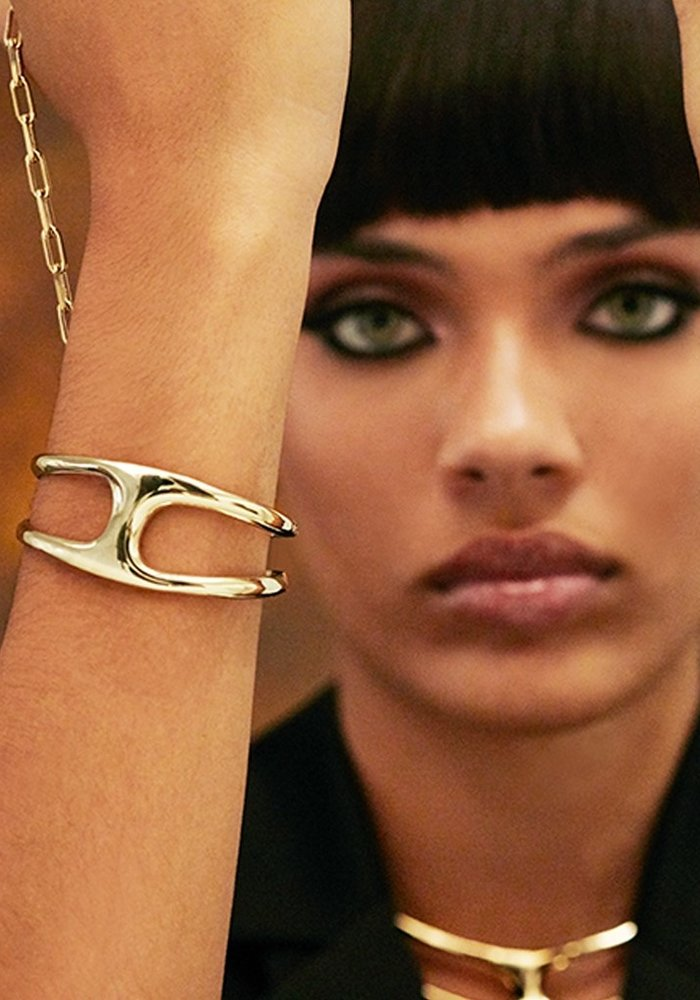 """Uno De 50 """"Two in One"""" Gold & Leather Bracelet"""