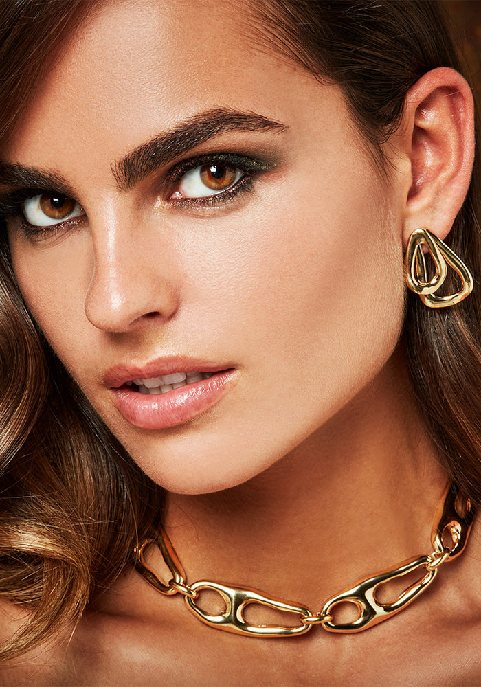 """Uno De 50 """"Connected"""" Gold Earrings"""