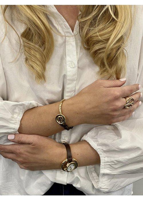 """UNO DE 50 Uno De 50 """"My Button"""" Leather & Gold Bracelet"""