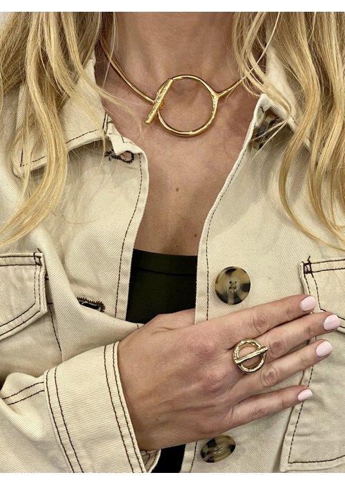 """UNO DE 50 Uno De 50 """"Switch On"""" Gold Collar Necklace"""