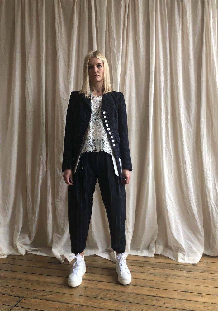 High Tech Pinstripe Drape Trousers