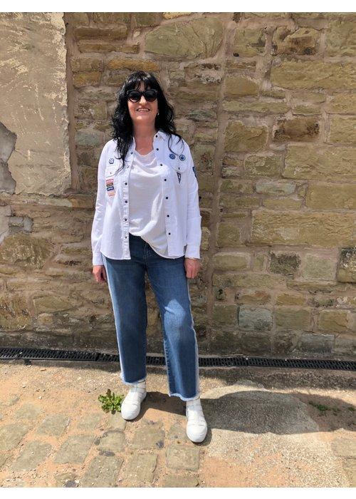 FIVE Five Wide Crop Frayed Hem Jeans