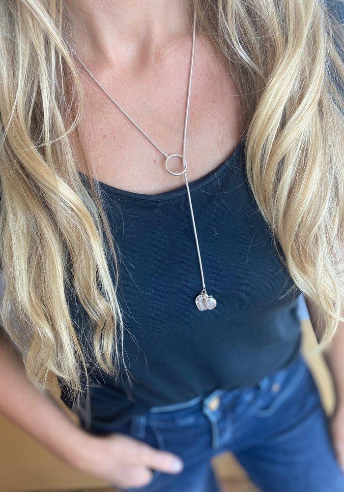 Sunday Best Silver Lariat Necklace Shiny