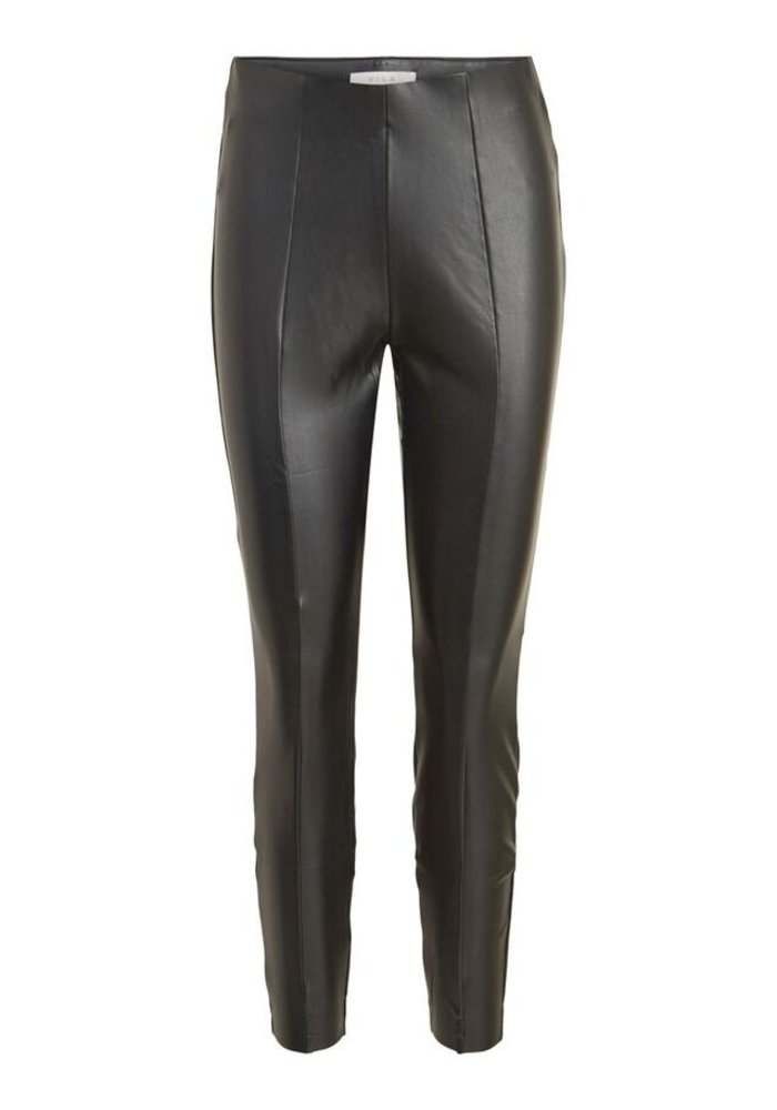 Vila High Waisted Faux Leather Trousers