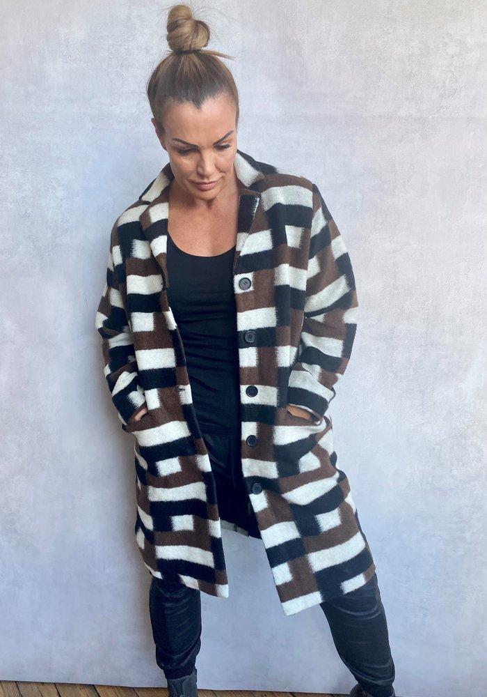 Masai Tura Wool Checked Coat