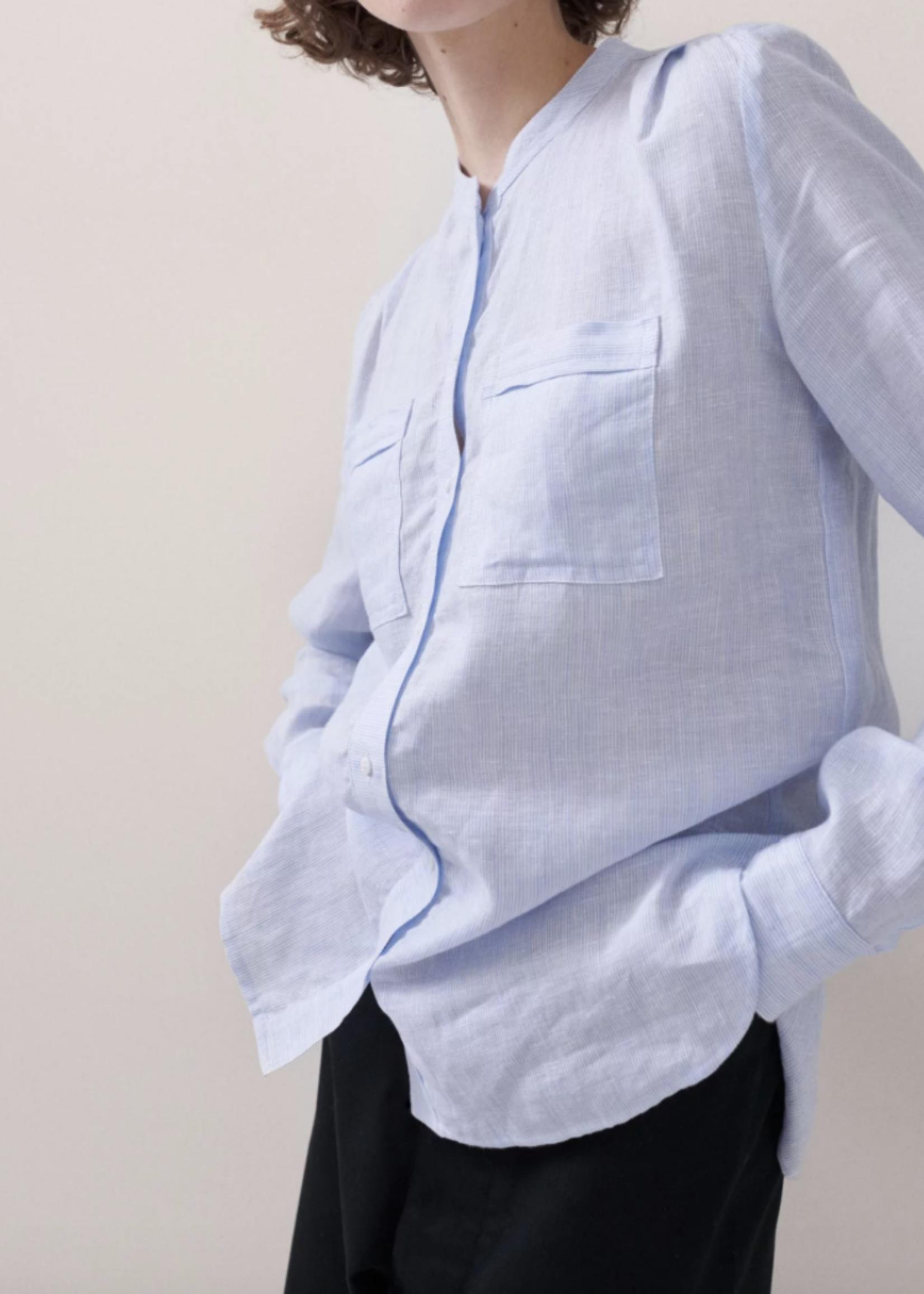 rikastudios rika studios sofie shirt cotton blue white stripe
