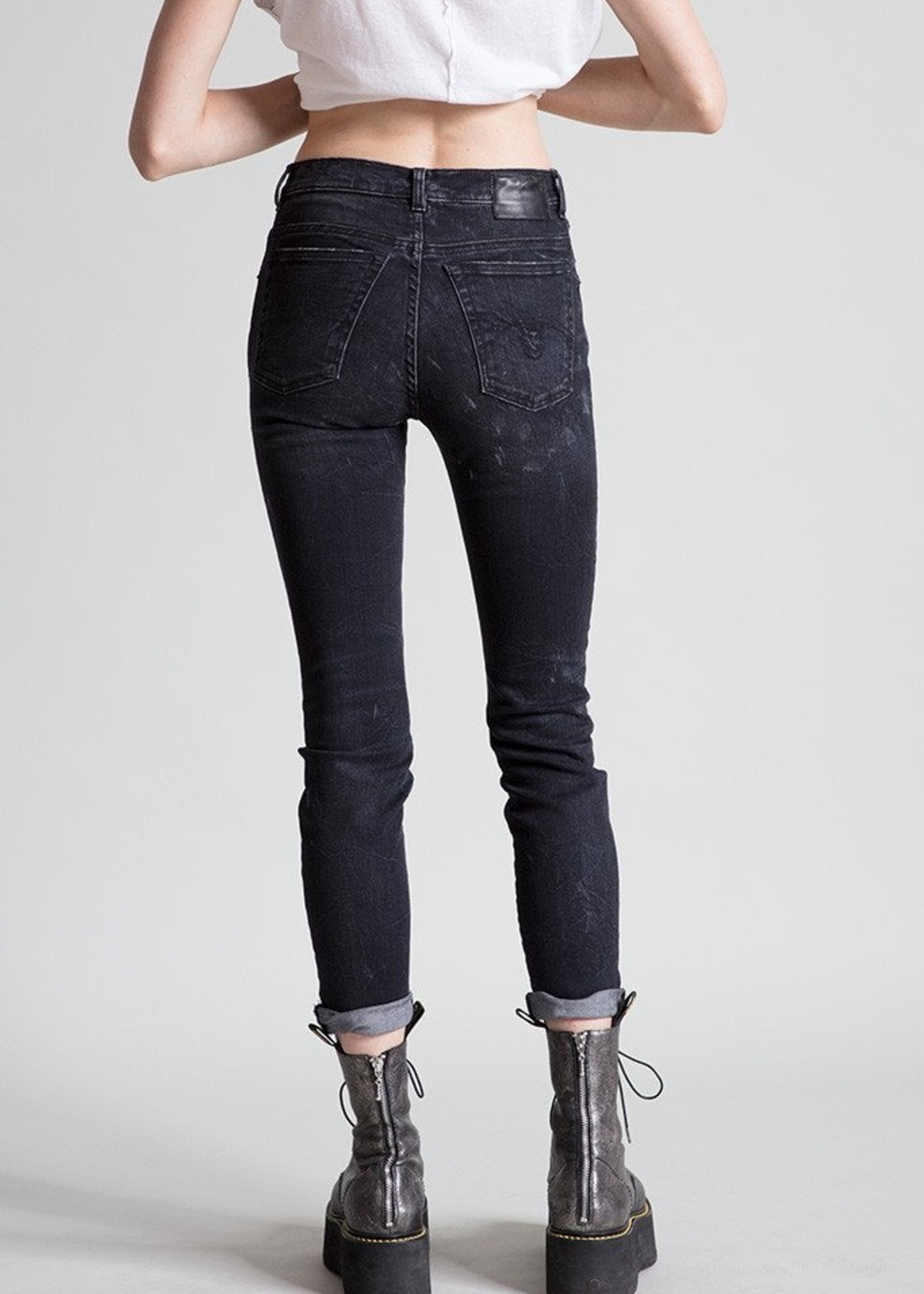 r13 r 13 high rise  skinny blk marble