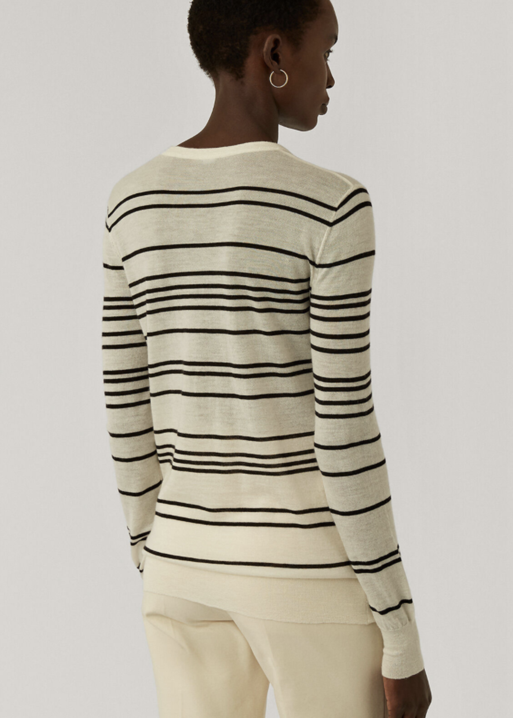 Joseph joseph rnd neck longsleeve cashmere stripe top , ivory combo