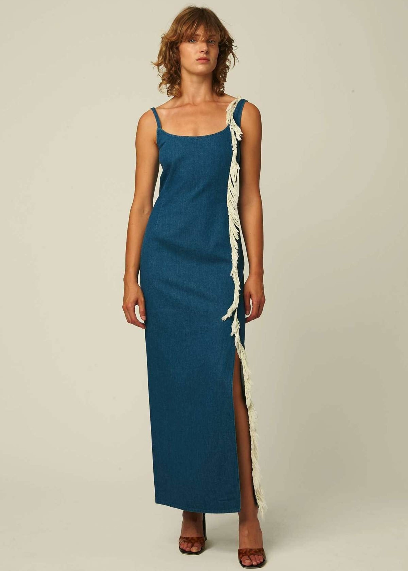 facon jacmin facon jacmin denim macrame maxi dress mid blue denim
