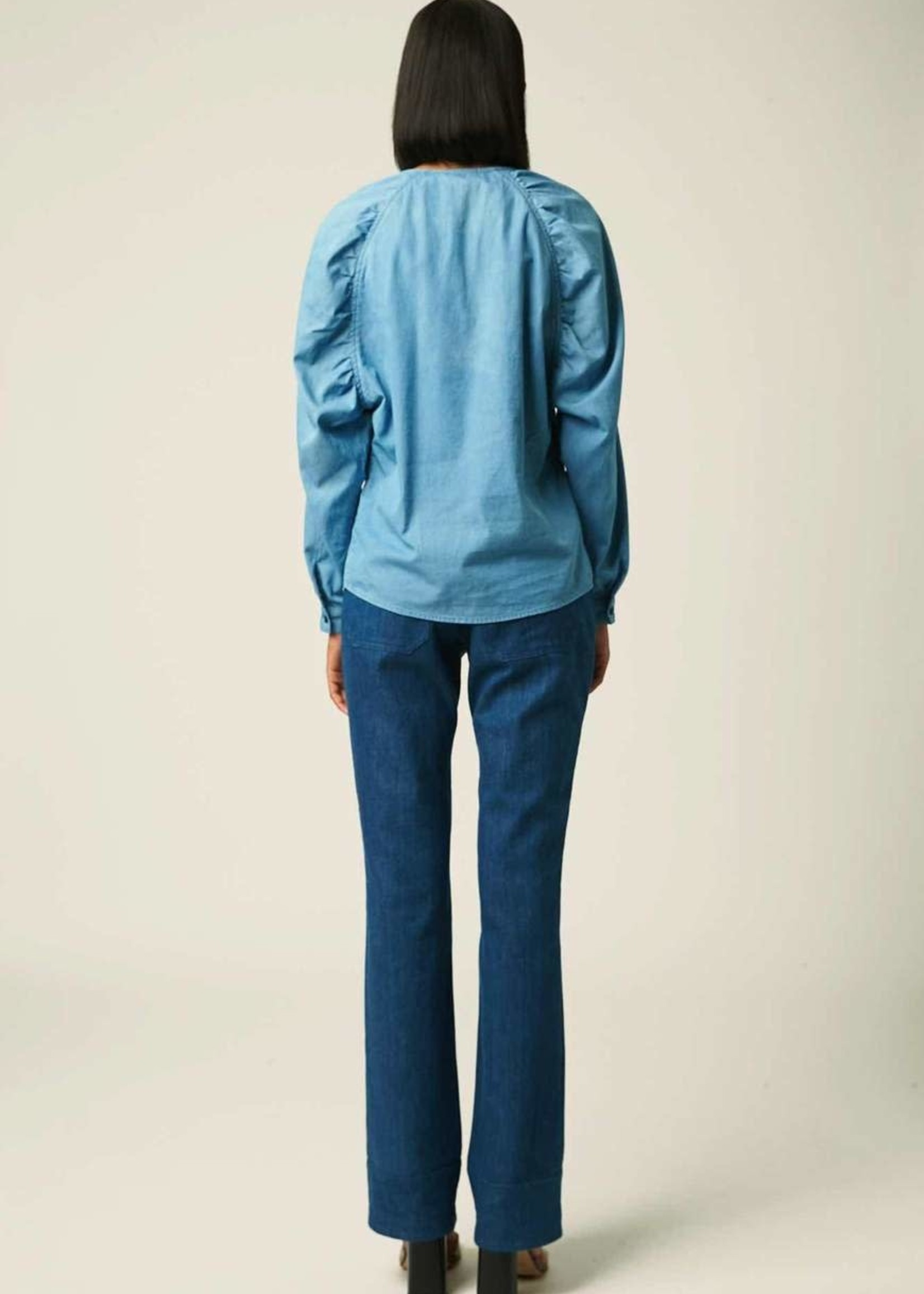 facon jacmin facon jacmin baloon sleeve top mid blue