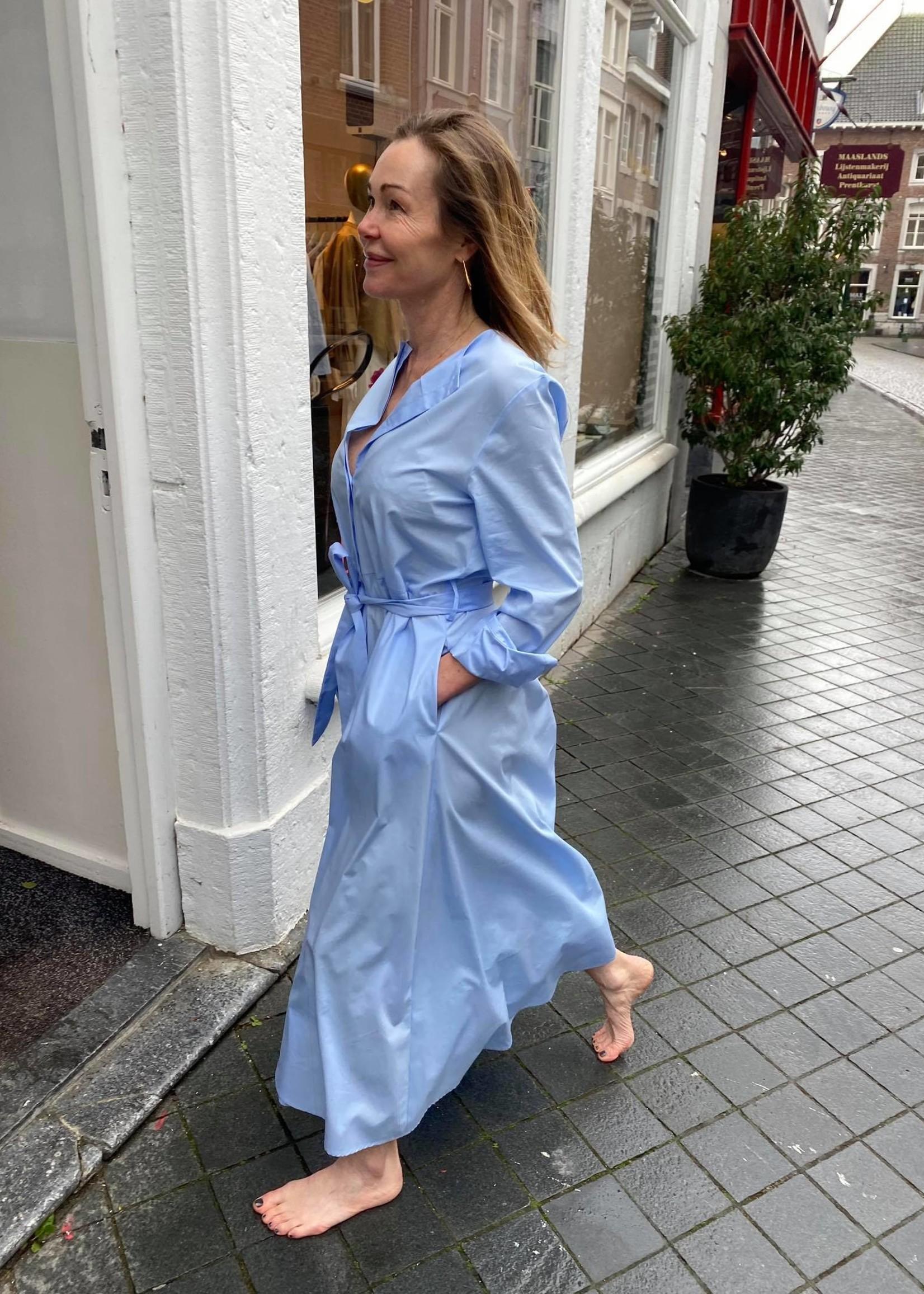 Via massini via masini maxi dress long sleeve azzurro 40 it.