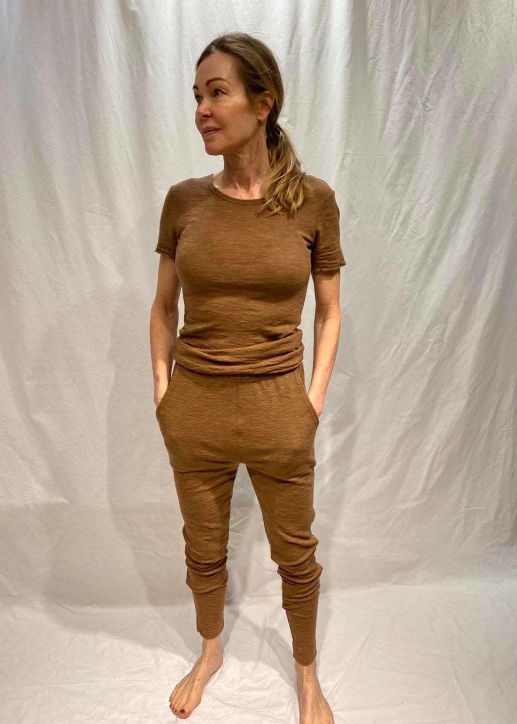 by basics by basics tee round neck short sleeve camel melange