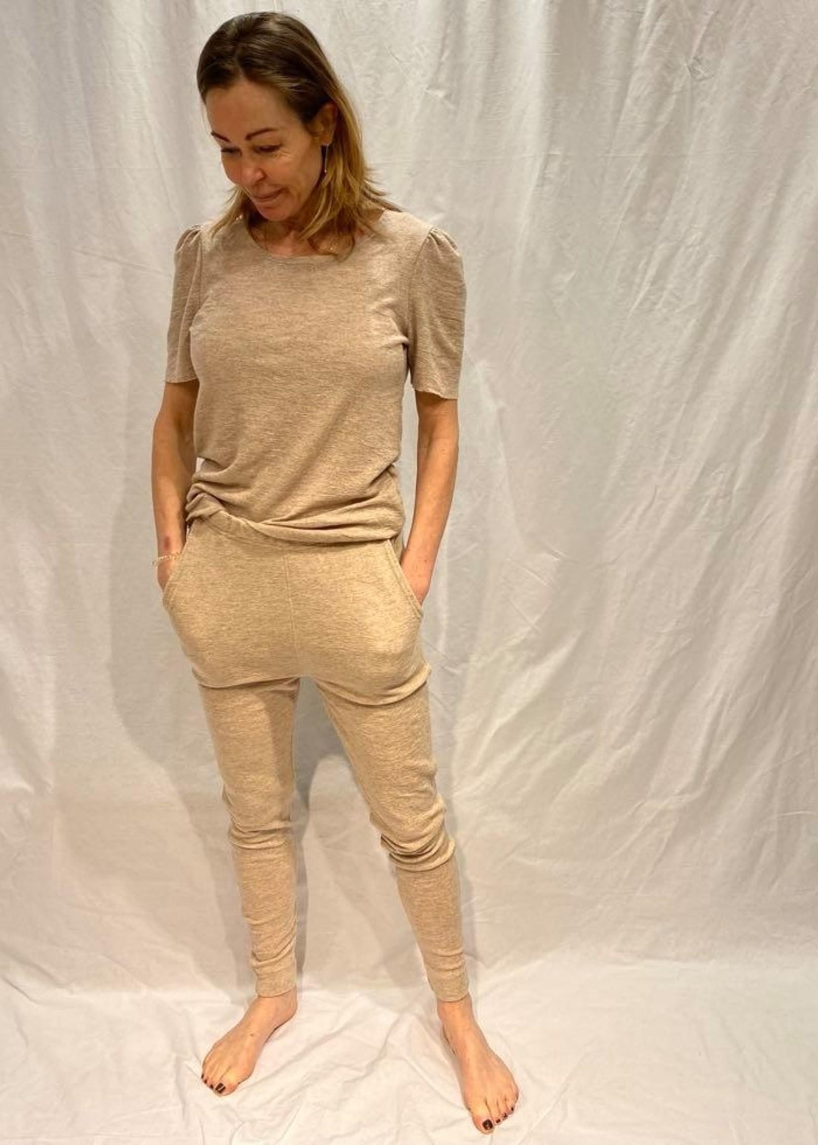 by basics by basics tee short sleeve puff sand melange L
