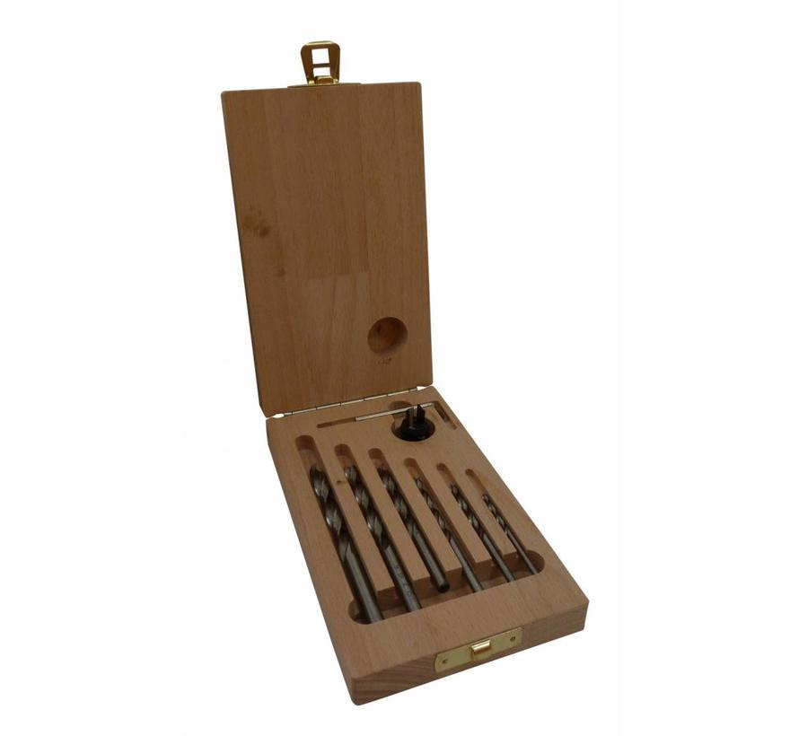 Machinale houtboor set 7 dlg. 3 - 8 mm met verzinker